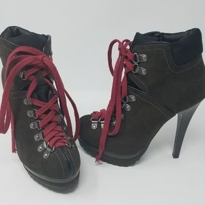 Hiking Boots x Stilettos High Heels Lace Up Shoes